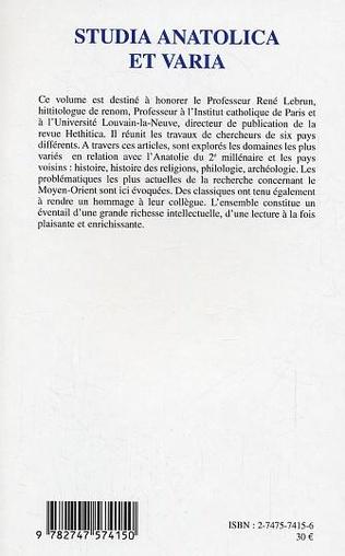 4eme Studia anatolica et varia