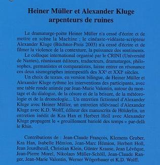 4eme Heiner Müller et Alexander Kluge arpenteurs de ruines