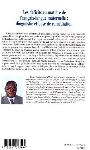 4eme Les déficits en matière de français-langue maternelle : diagnostic et base de remédiation