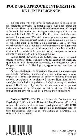 4eme Pour une approche intégrative de l'intelligence