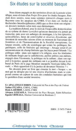 4eme Six études sur la société basque