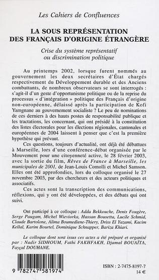 4eme La sous représentation des français d'origine étrangère