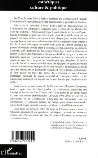 4eme Rwanda 1994-2004 : des faits, des mots, des oeuvres