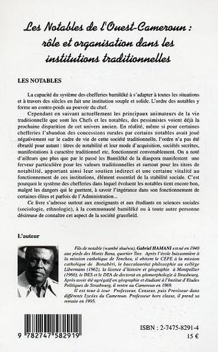 4eme Les notables de l'Ouest-Cameroun : rôle et organisation dans les institutions traditionnelles