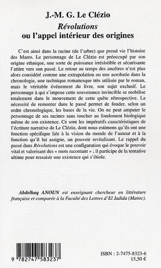 4eme J.-M.G. Le Clézio : Révolutions ou l'appel intérieur des origines