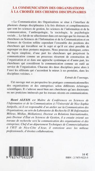 4eme La communication des organisations à la croisée des chemins disciplinaires