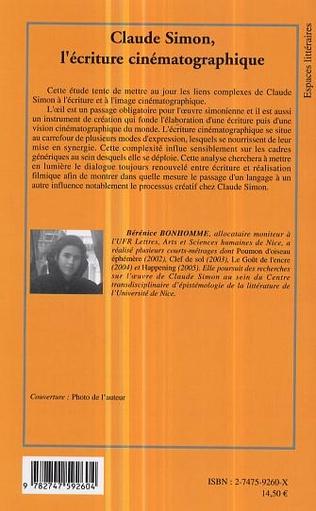 4eme Claude Simon, l'écriture cinématographique