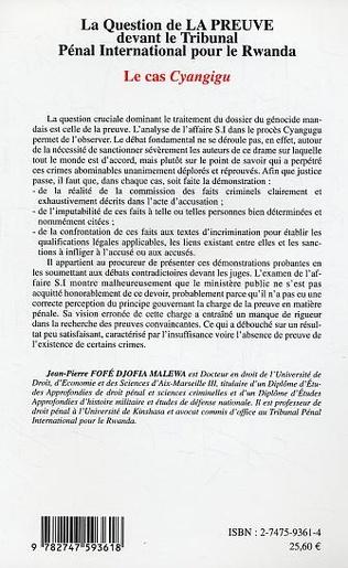 4eme La question de la preuve devant le Tribunal Pénal International pour le Rwanda