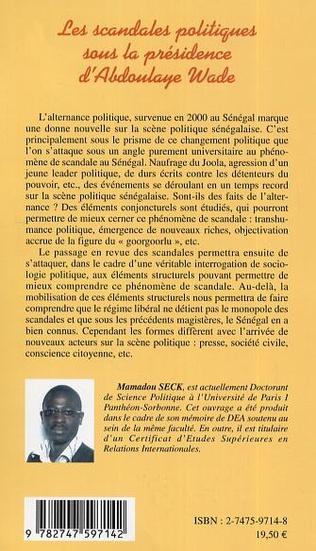 4eme Les scandales politiques sous la présidence d'Abdoulaye Wade