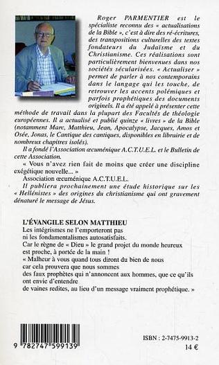 4eme L'Evangile selon Matthieu actualisé et réécrit
