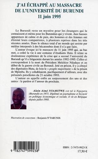 4eme J'ai échappé au massacre de l'université du Burundi
