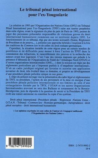 4eme Le tribunal pénal international pour l'ex-Yougoslavie