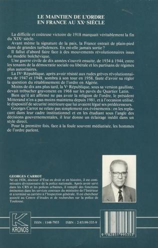 4eme Le maintien de l'ordre en France au XXe siècle
