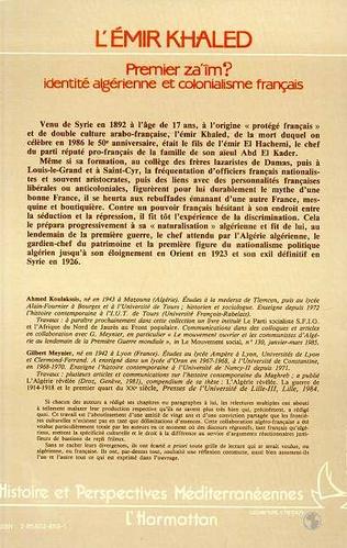 4eme L'Emir Khaled, premier za'iM ? Identité algérienne et colonialisme français