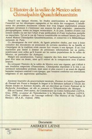 4eme L'histoire de la vallée de Mexico selon Chimalpahin Quauhtlehuanitzin