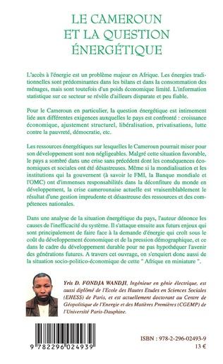 4eme Le Cameroun et la question énergétique