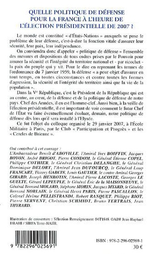 4eme Quelle politique de défense pour la France à l'heure de l'élection présidentielle de 2007 ?