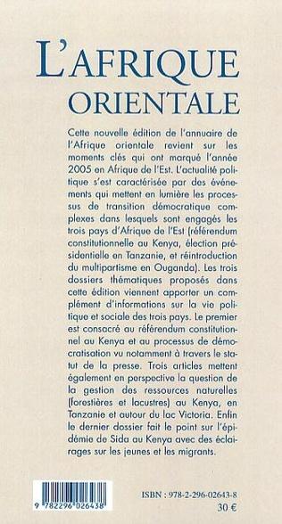 4eme L'Afrique orientale annuaire 2005