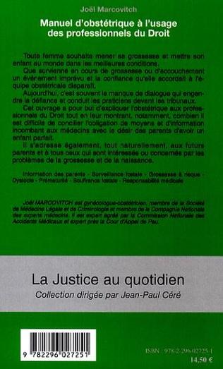 4eme Manuel d'obstétrique à l'usage des professionnels du Droit