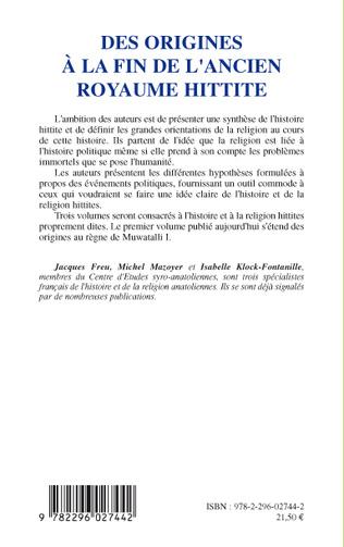 4eme Des origines à la fin de l'ancien royaume hittite