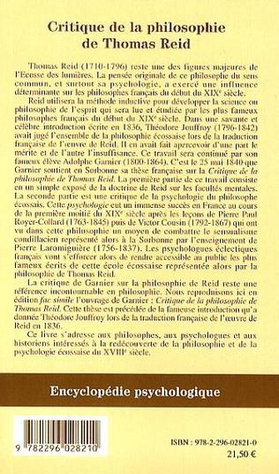 4eme Critique de la philosophie de Thomas Reid