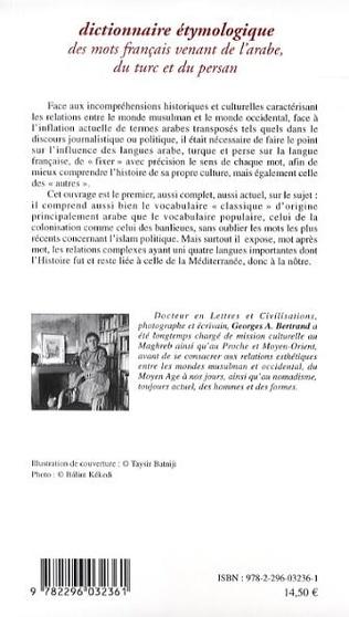 4eme Dictionnaire étymologique des mots français venant de l'arabe, du turc et du persan
