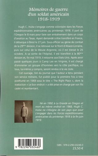 4eme Mémoires de guerre d'un soldat américain 1918-1919