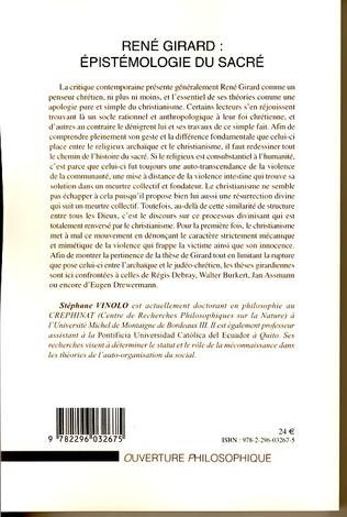 4eme René Girard : épistémologie du sacré