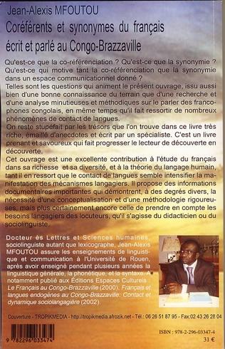 4eme Coréférents et synonymes du français écrit et parlé au Congo-Brazzaville