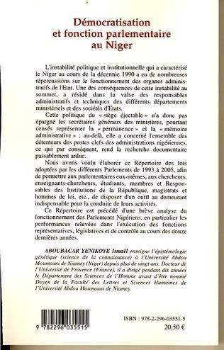 4eme Démocratisation et fonction parlementaire au Niger