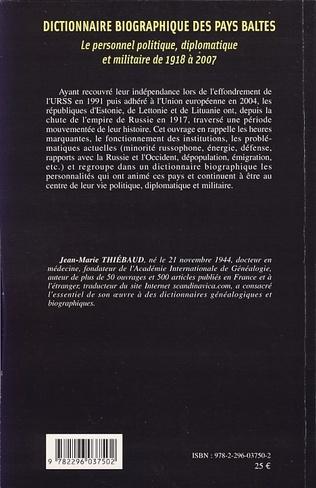 4eme Dictionnaire biographique des Pays baltes