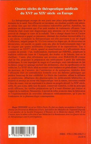 4eme Quatre siècles de thérapeutique médicale du XVIe au XIXe siècle en Europe