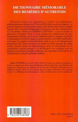 4eme Dictionnaire mémorable des remèdes d'autrefois