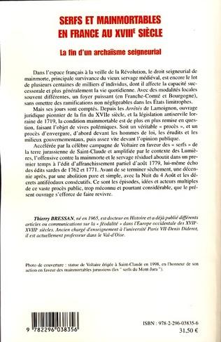 4eme Serfs et mainmortables en France au XVIIIe siècle