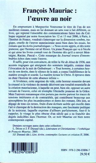 4eme François Mauriac : l'oeuvre au noir