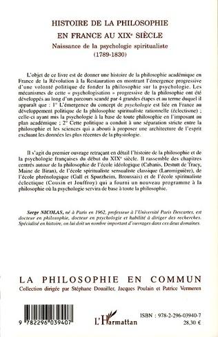 4eme Histoire de la philosophie en France au XIXe siècle