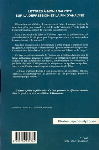 4eme Lettres à mon analyste sur la dépression et la fin d'analyse
