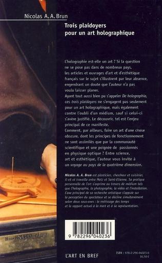 4eme Trois plaidoyers pour un art holographique