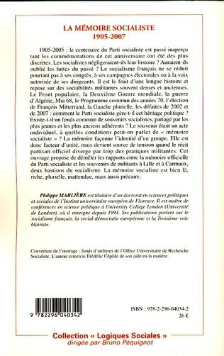 4eme La mémoire socialiste 1905-2007