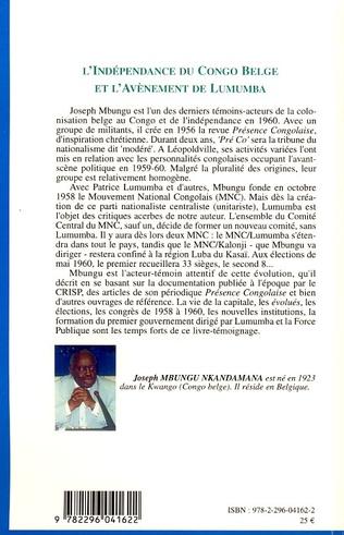 4eme L'indépendance du Congo belge et l'avènement de Lumumba