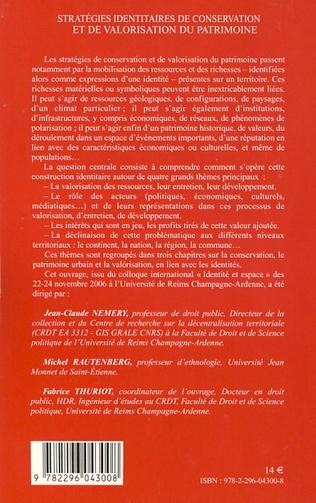 4eme Stratégies identitaires de conservation et de valorisation du patrimoine