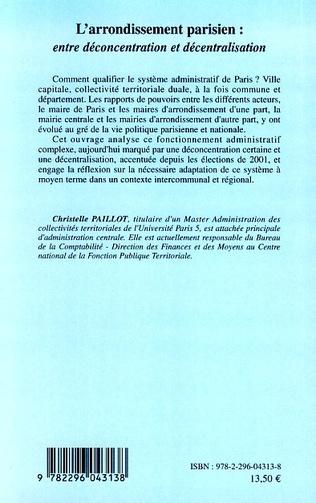 4eme L'arrondissement parisien : entre déconcentration et décentralisation