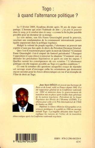 4eme Togo : à quand l'alternance politique ?