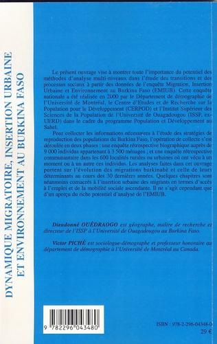 4eme Dynamique migratoire, insertion urbaine et environnement au Burkina Faso