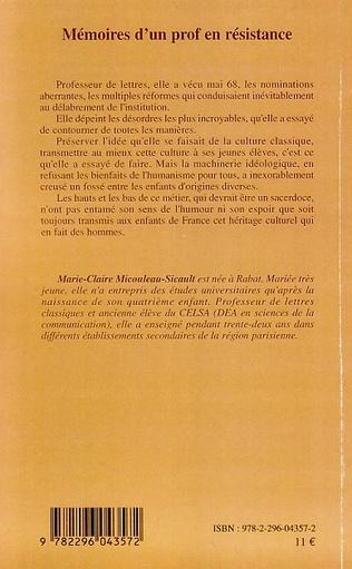 4eme Mémoires d'un prof en résistance