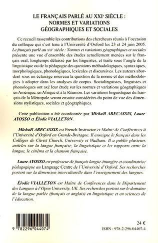 4eme Le français parlé au XXIème siècle - Volume 1