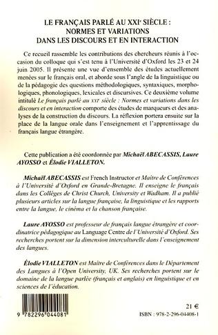4eme Le français parlé au XXIème siècle - Volume 2