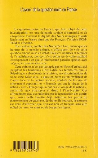 4eme Les Noirs en France: géopolitique concomitante d'une amnésie de l'histoire et d'une nécessité de positionnement affirmatif