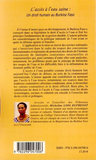 4eme L'accès à l'eau saine: un droit humain au Burkina Faso
