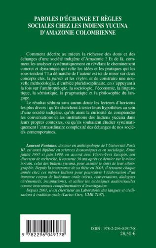 4eme Paroles d'échange et règles sociales chez les indiens Yucuna d'Amazonie colombienne